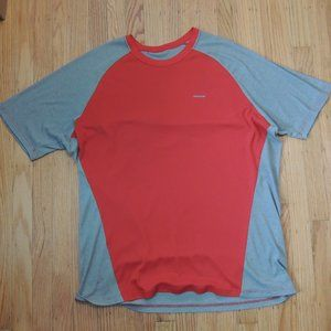 Patagonia Capilene 2 Shirt Gray Red Short Sleeve